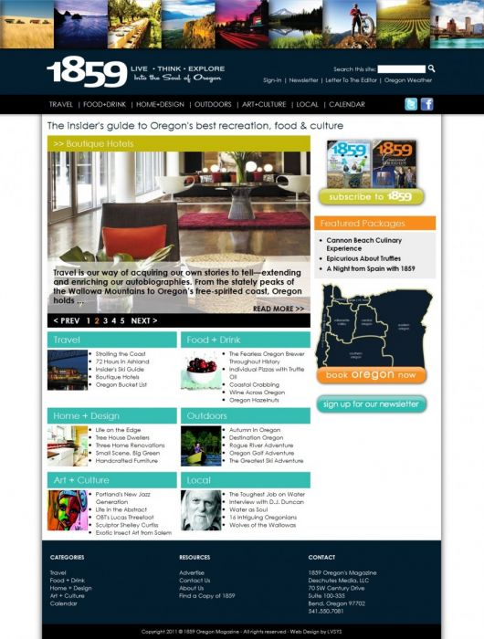 the home page, featuring slideshows, categories and access to travel portal
